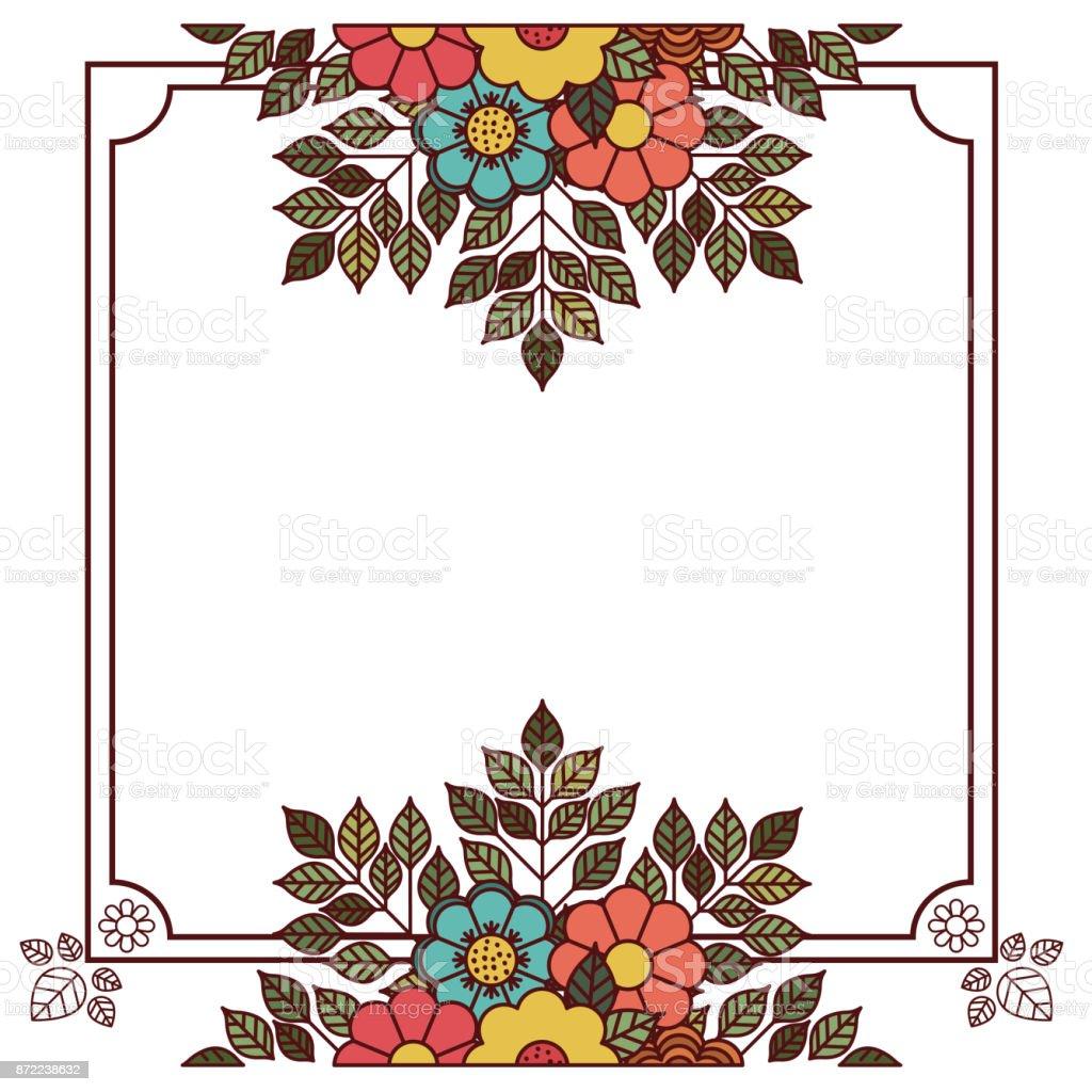 Flower And Leaves Frame Design Stock Illustration - Download