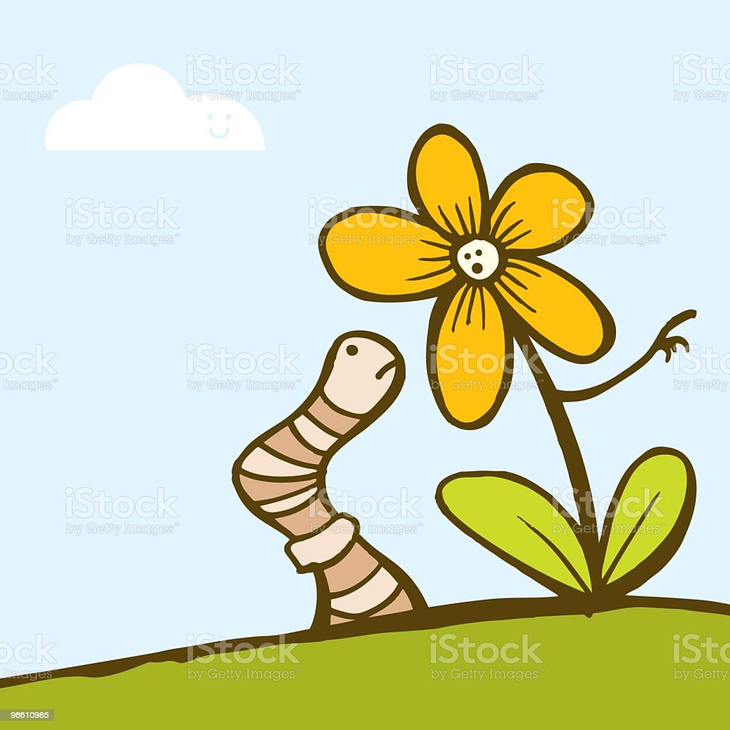Flower and Worm - Royalty-free Animal Themes stock vector
