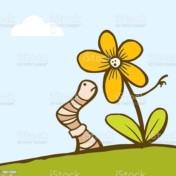 Blume Und Wurm Stock Vektor Art und mehr Bilder von Blatt - Pflanzenbestandteile