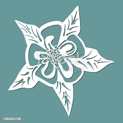 flower aquilegia, laser cut flower, template for cutting, card design element,  gift on Valentine's Day, love letter,  paper greeting card,  vector illustration