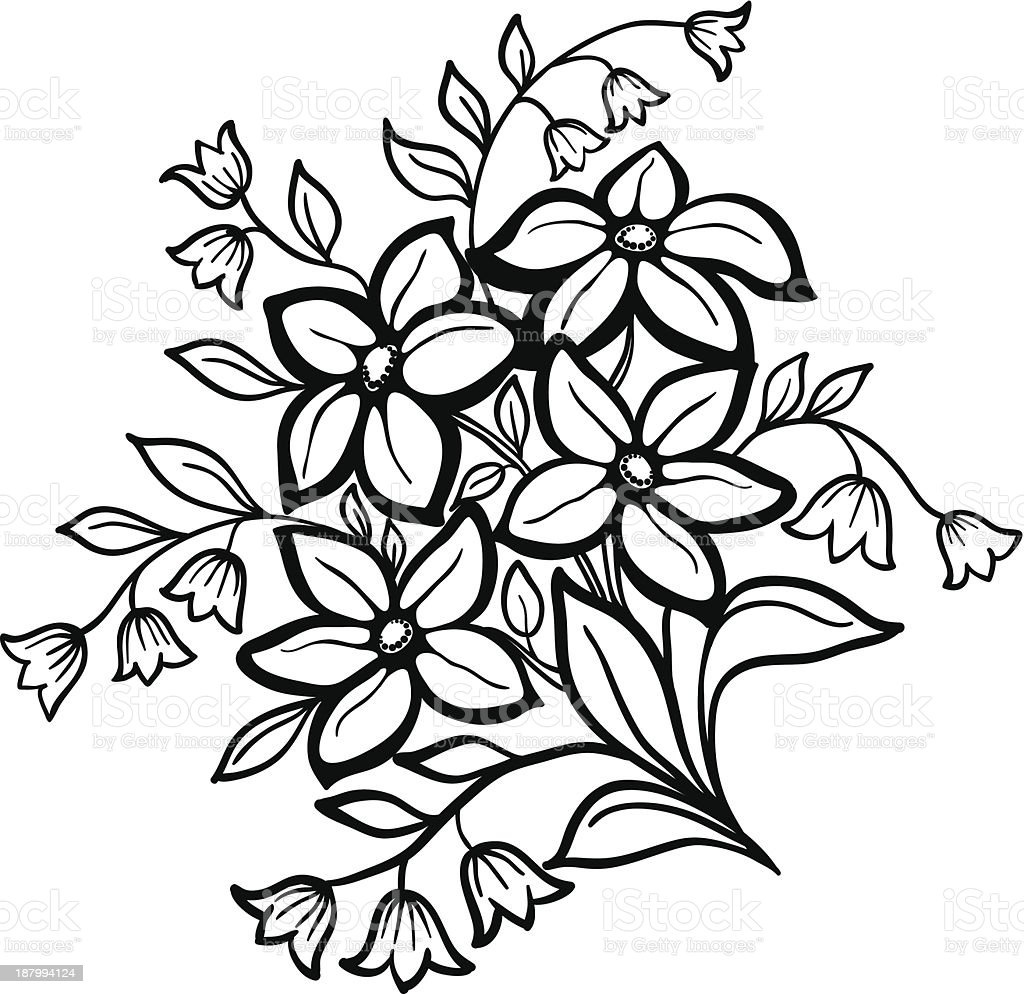 Flower Arrangement Black Outline On A White Background Stock Vector
