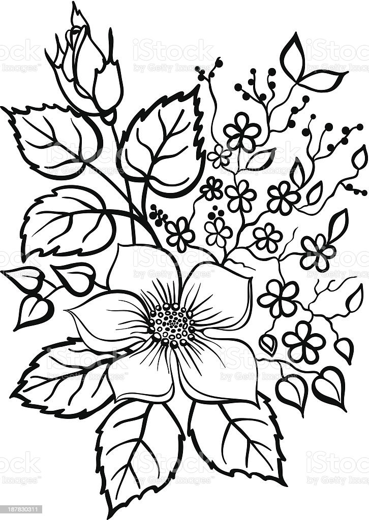 Flower arrangement black outline on a white stock vector art more flower arrangement black outline on a white royalty free flower arrangement black outline on mightylinksfo Gallery