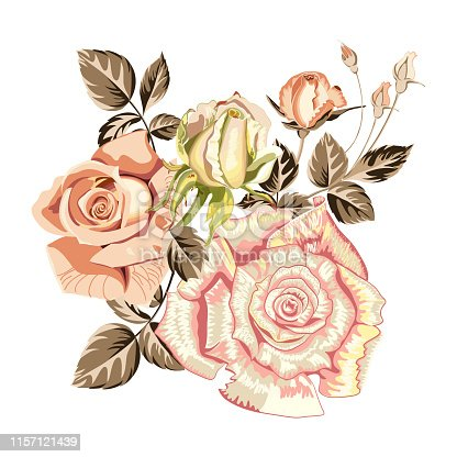 Flower arrangement bouquet of beautiful yellow, pink roses on white background, close up. Can be used for printing on t-shirt, greeting card. Vector illustration.