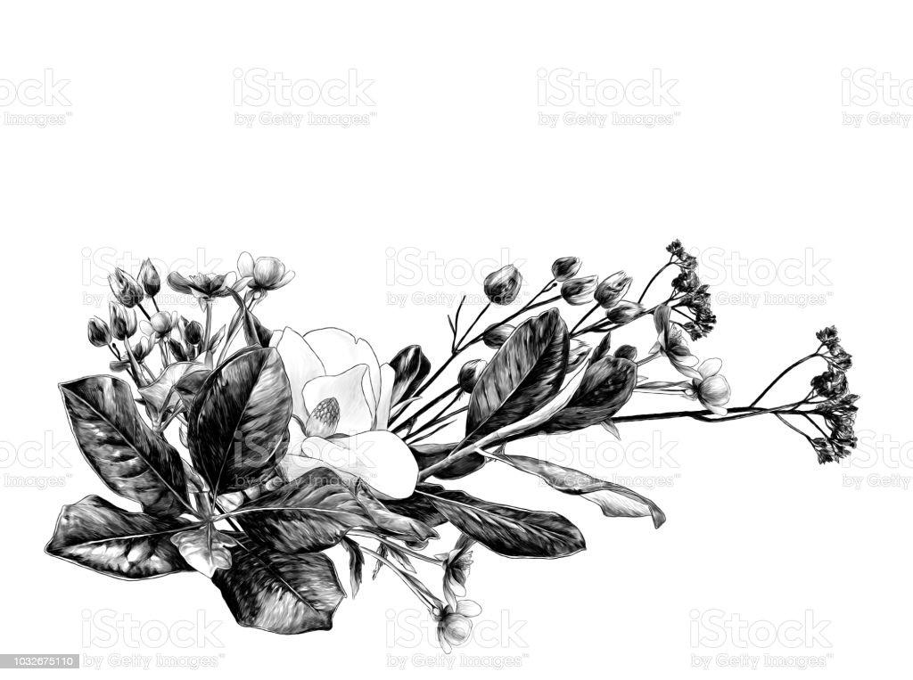 Ilustración De Arreglo Floral De Magnolia Ramas Y Pasto Seco