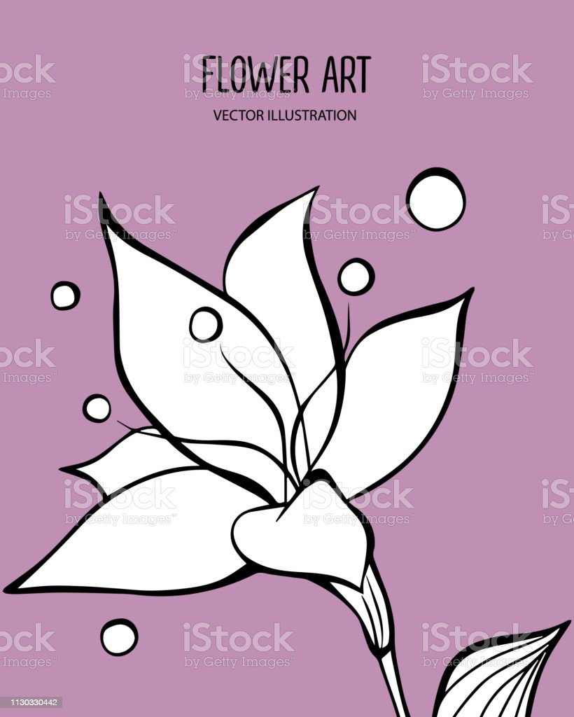 Vector illustration of beautiful white flower with black lettering....