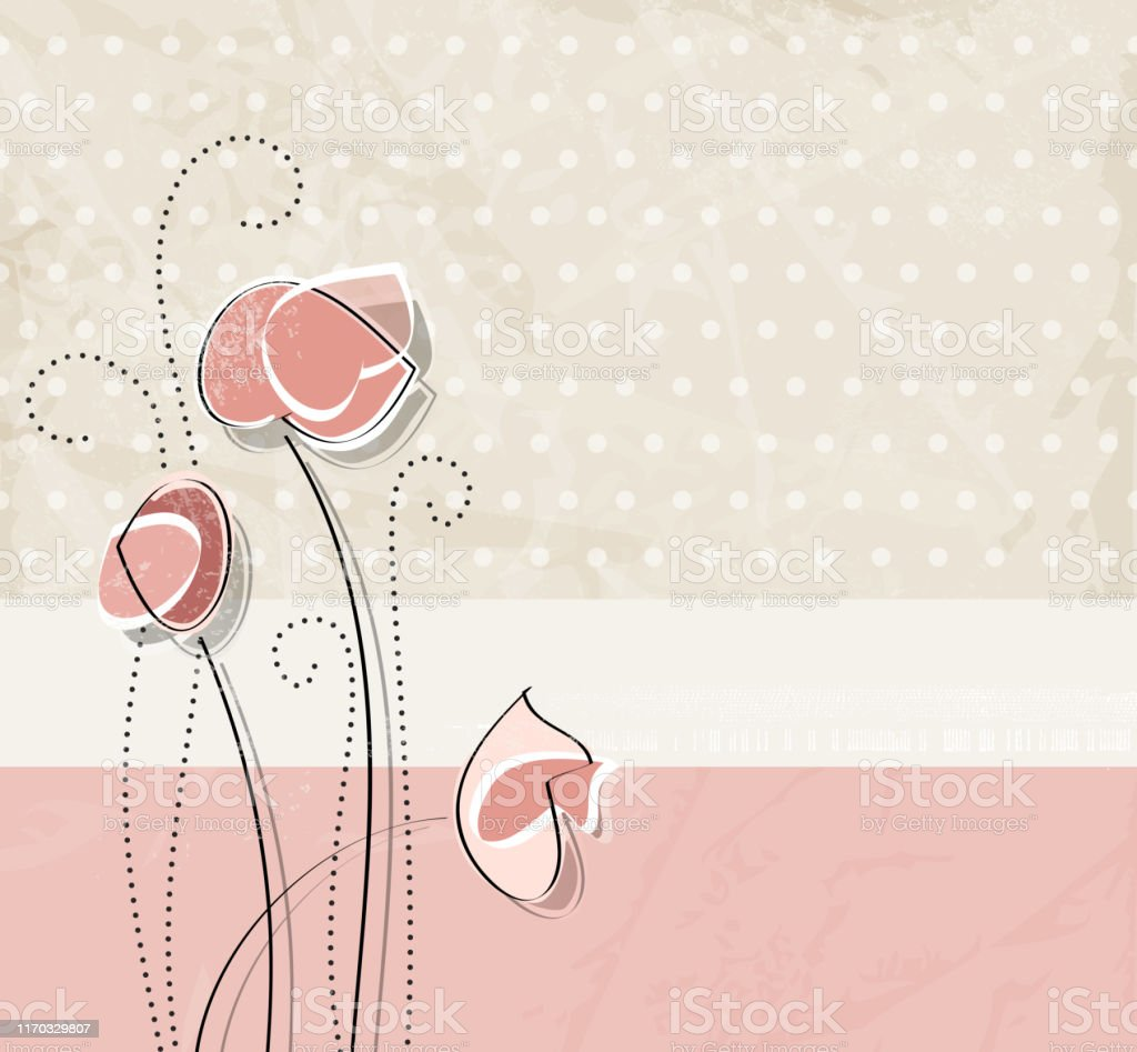 Flower Background In Pastel Pink Watercolor Style Vintage