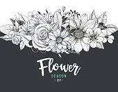 Flower invitation - vector background, global colors used