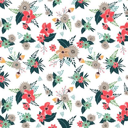 Flower background. Wedding card, Valentine's day, love concept. Flat vector illustration