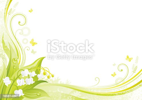 istock Flower background with copyspace: Lily of the valley 165814841