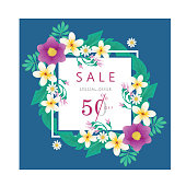 Flower Banner Spring or Summer Special Offer Sale V6