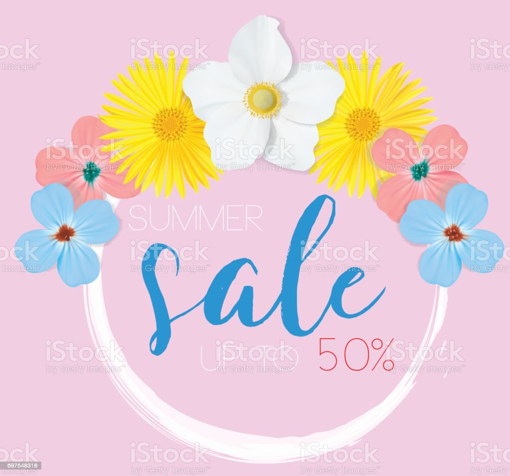 Flower Banner With Text Summer Sale On Pink Background With