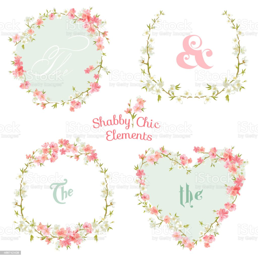 Flower Banners and Tags - for your design and scrapbook vector art illustration