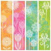 Four Flower Banners. Room for your text.