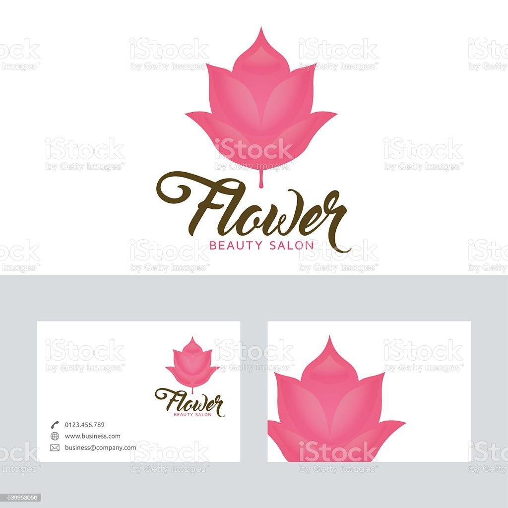 Salon De Beaute Fleur Logo Vectoriel Avec Modele Carte Visite