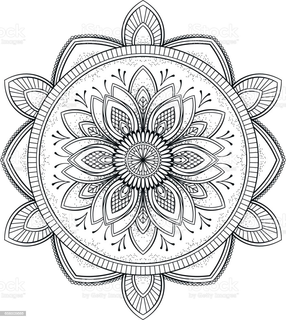 Flower black mandala oriental pattern vector illustration islam arabic indian ottoman motifs - Motif oriental a imprimer ...