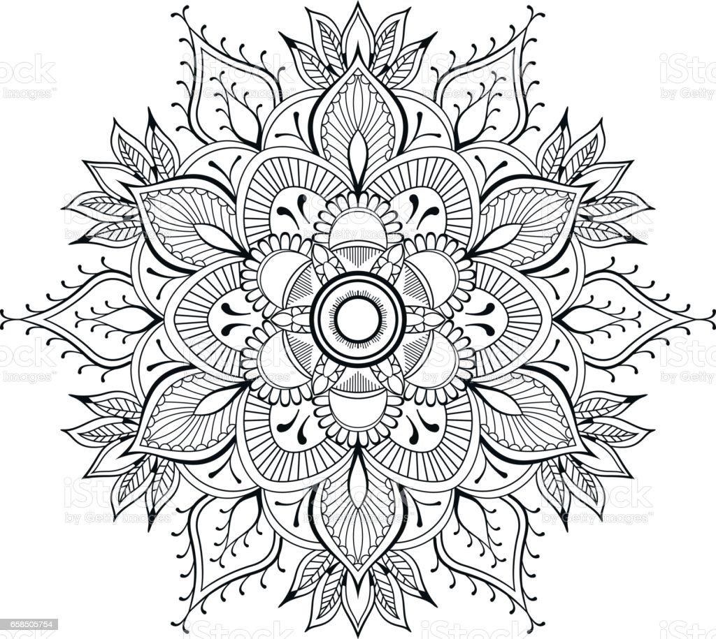 Flower Black Mandala Oriental Pattern Vector Illustration ...