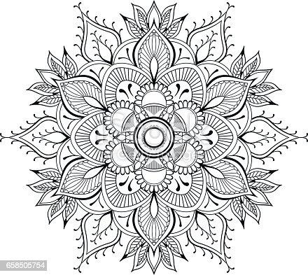 Flower Black Mandala Oriental Pattern Vector Illustration