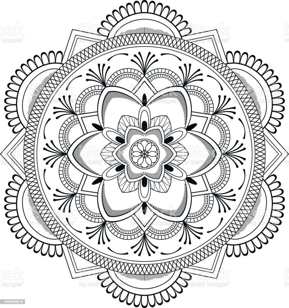 Cicek Siyah Mandala Oryantal Desen Vektor Cizim Islam Arapca