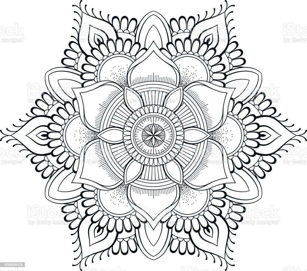 çiçek Siyah Mandala Oryantal Desen Vektör çizim Islam Arapça Indian