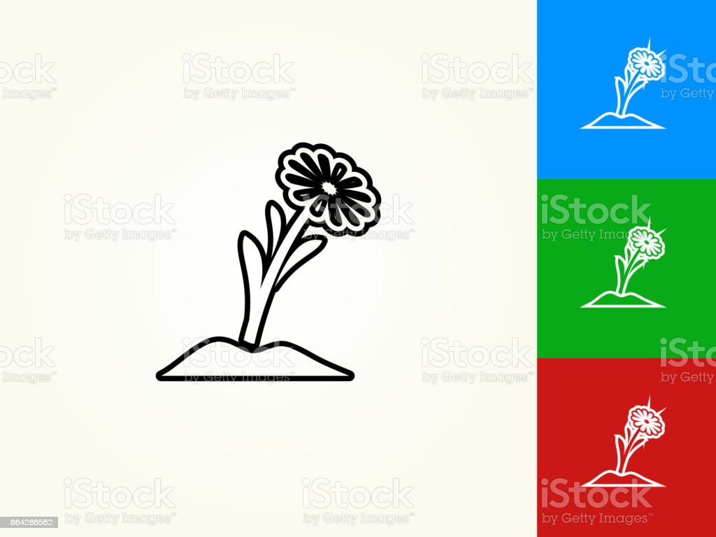 Flower Black Stroke Linear Icon royalty-free flower black stroke linear icon stock vector art & more images of black color