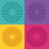 Flower bloom radial pattern designs.