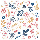 Various leaves seamless pattern illustration. Hand drawn vector graphic for creating fabrics, packaging, stationery, wallpaper designs.