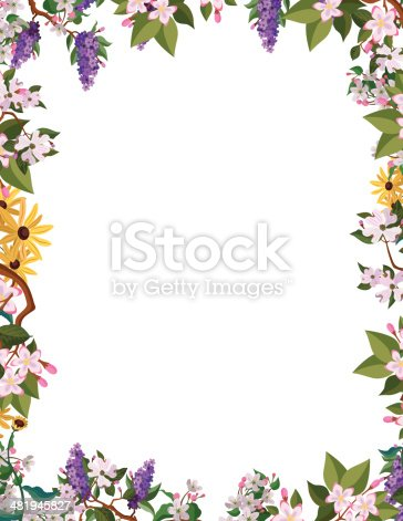 A vector frame featuring North American flowers: lilac, black eyed susan, mayflowers, mountain laurel and dogwood.