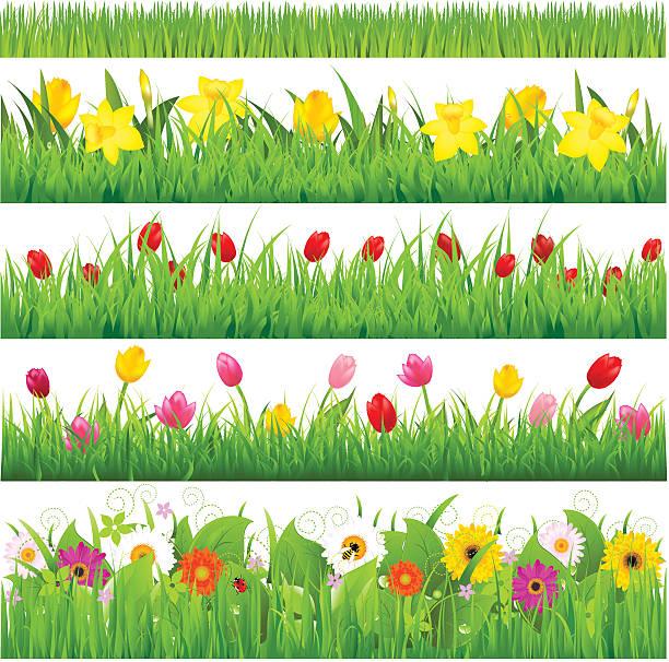 Flower Borders Set Flower Borders Set, Vector Illustration bee borders stock illustrations