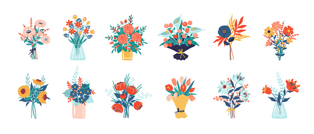 Flower bouquet. Bunch of plants in vase and glass bottle collection, cartoon blooming peony and meadow greenery, decorative foliage. Vector isolated garden flowers decoration set