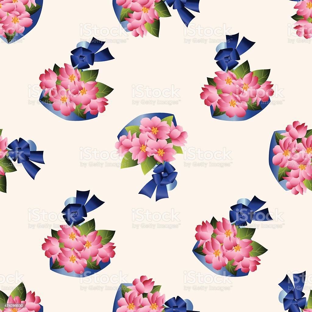 Flower Bouquet Cartoon Seamless Pattern Background Stock Vector Art ...