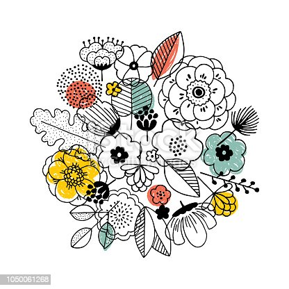Flower bouquet composition. Linear graphic. Florals background. Scandinavian style.