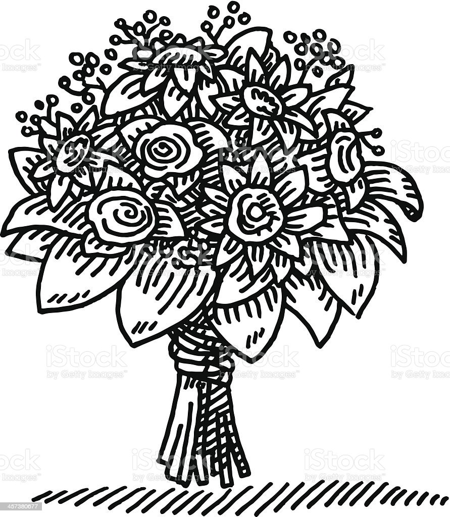 Flower Bouquet Drawing Stock Vector Art More Images Of Black And