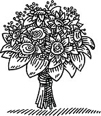 Hand-drawn vector drawing of a Flower Bouquet. Black-and-White sketch on a transparent background (.eps-file). Included files are EPS (v10) and Hi-Res JPG.