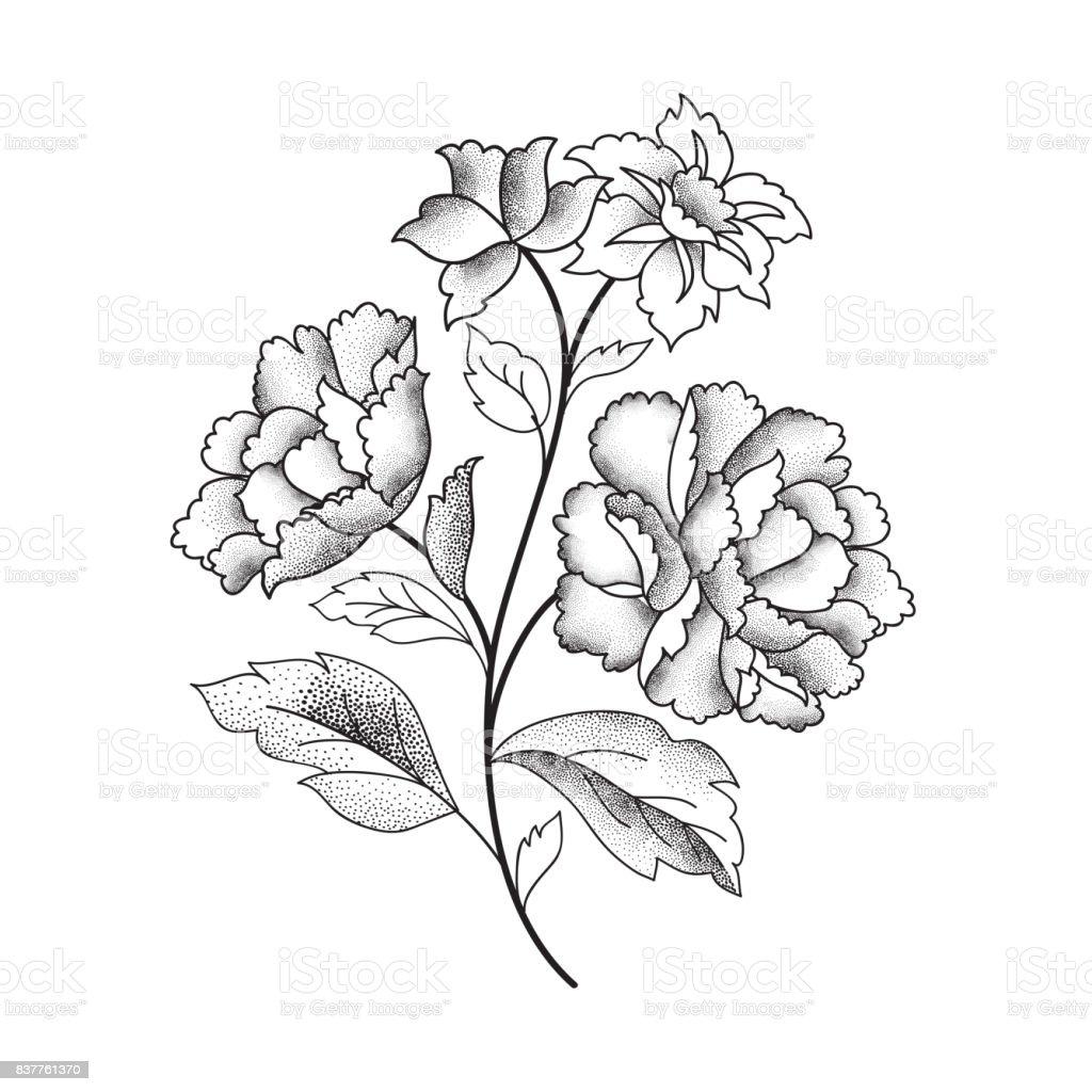 Flower Bouquet Floral Sketch Engraving Background Stock Vector Art