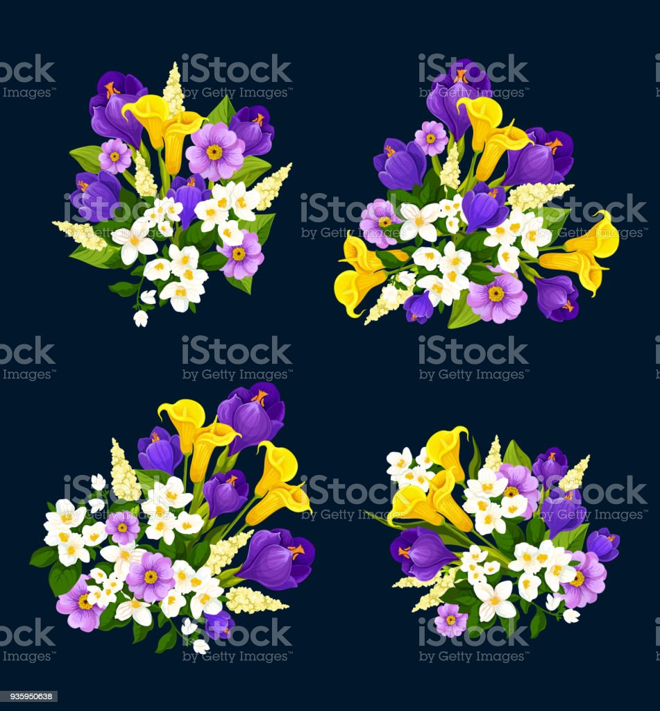 Flower Bouquet Icon Of Floral Greeting Card Design Stock Vector Art ...