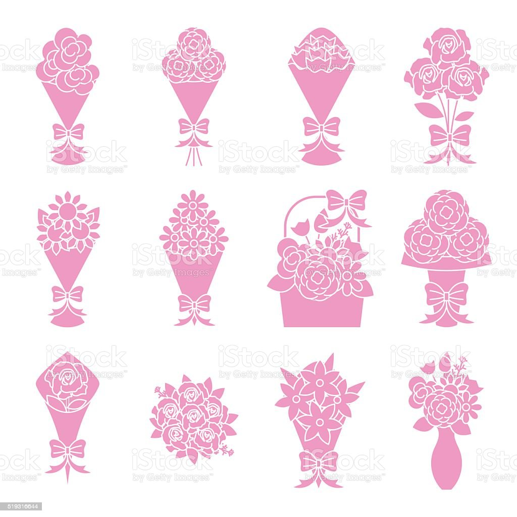 flower bouquet icons set vector art illustration