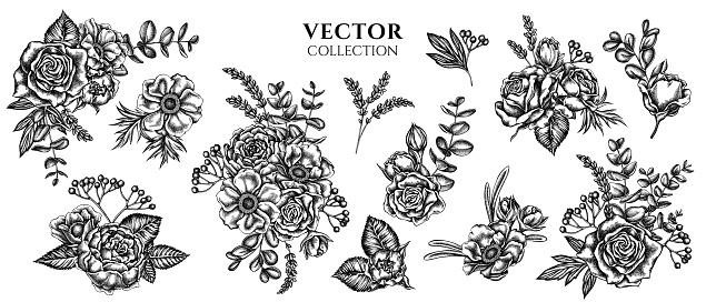 Flower bouquet of black and white roses, anemone, eucalyptus, lavender, peony, viburnum