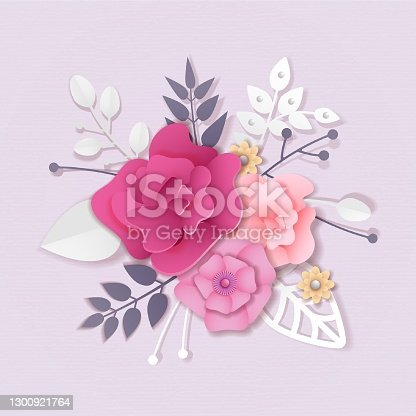 Flower bouquet of roses in paper craft style, paper cut and craft style. Vector illustration all objects are isolated
