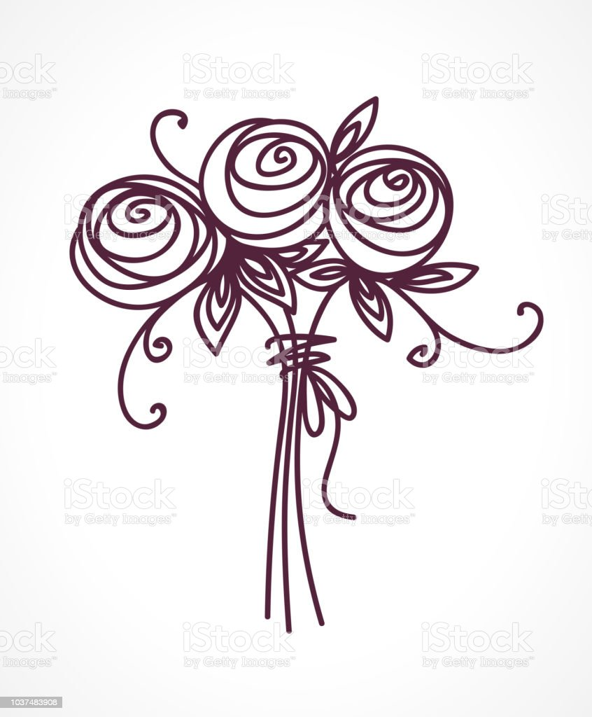 Flower bouquet stylized roses outline hand drawing present for flower bouquet stylized roses outline hand drawing present for wedding birthday royalty izmirmasajfo