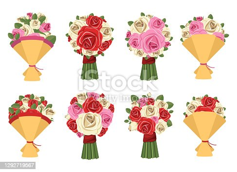 istock Flower bouquet vector design illustration isolated on white background 1292719567