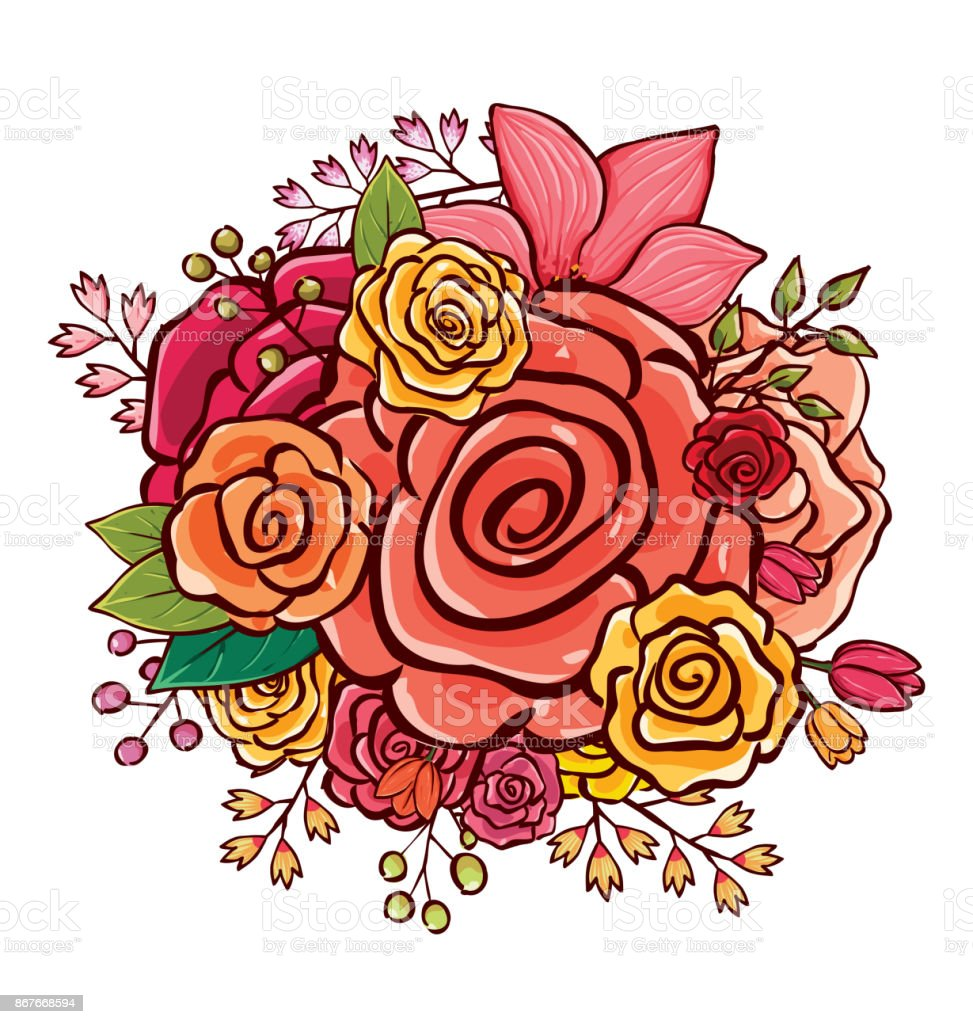 Flower Bouquet Vector Illustration Stock Vector Art More Images Of