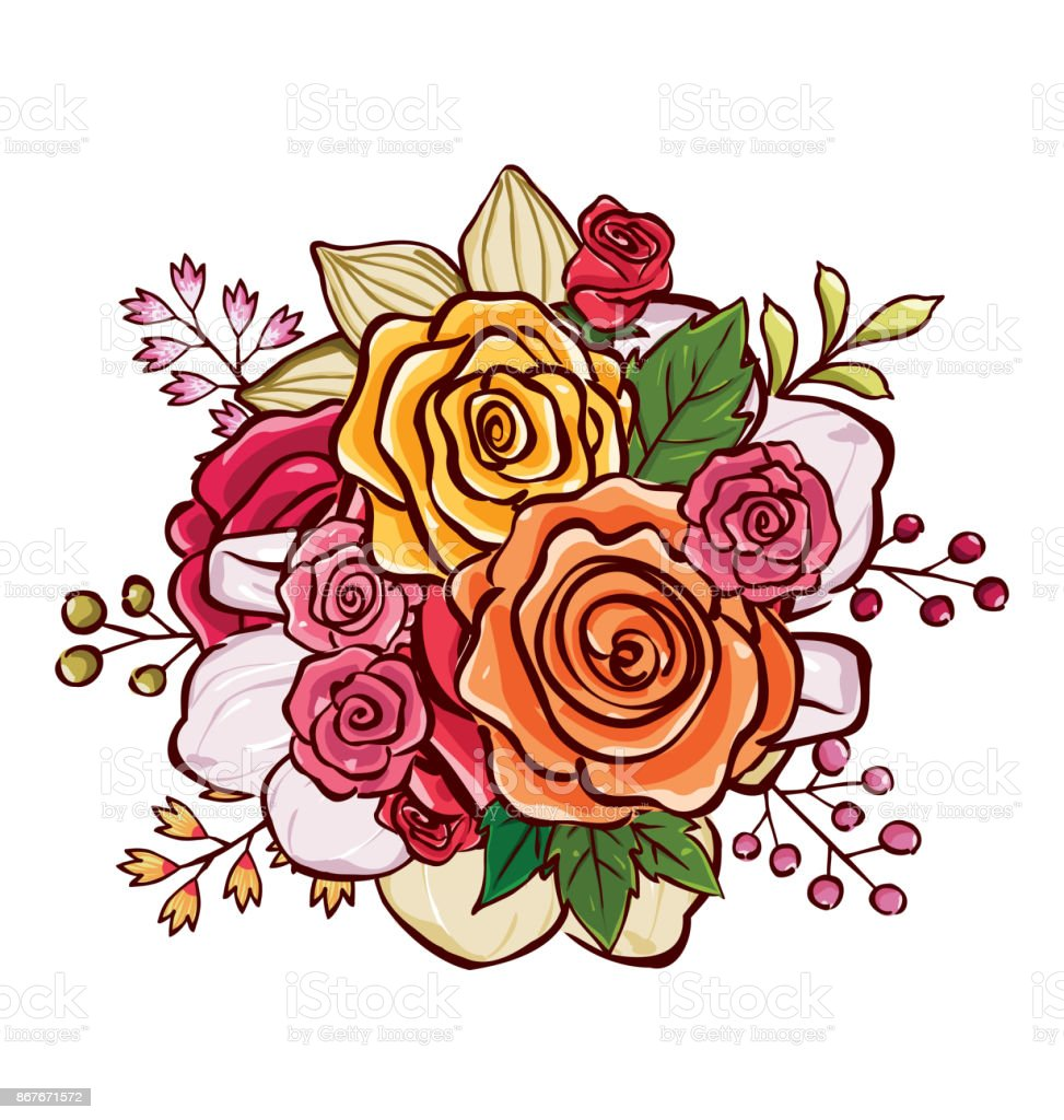 Flower Bouquet Vector Illustration Stock Vector Art 867671572 Istock