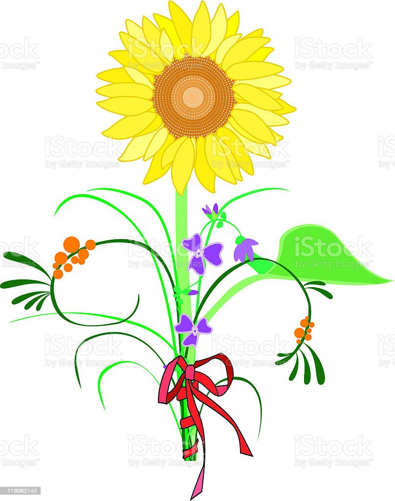 Bouquet de fleur avec tournesol royalty-free bouquet de fleur avec tournesol stock vector art & more images of bunch of flowers