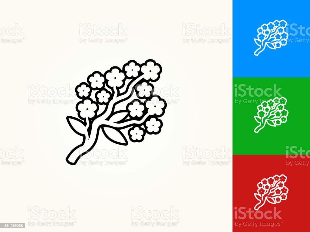 Flower Branch Black Stroke Linear Icon royalty-free flower branch black stroke linear icon stock vector art & more images of black color