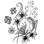 Flower butterfly zenart antistress page monochrome graphic sketch. Design element stock vector illustration