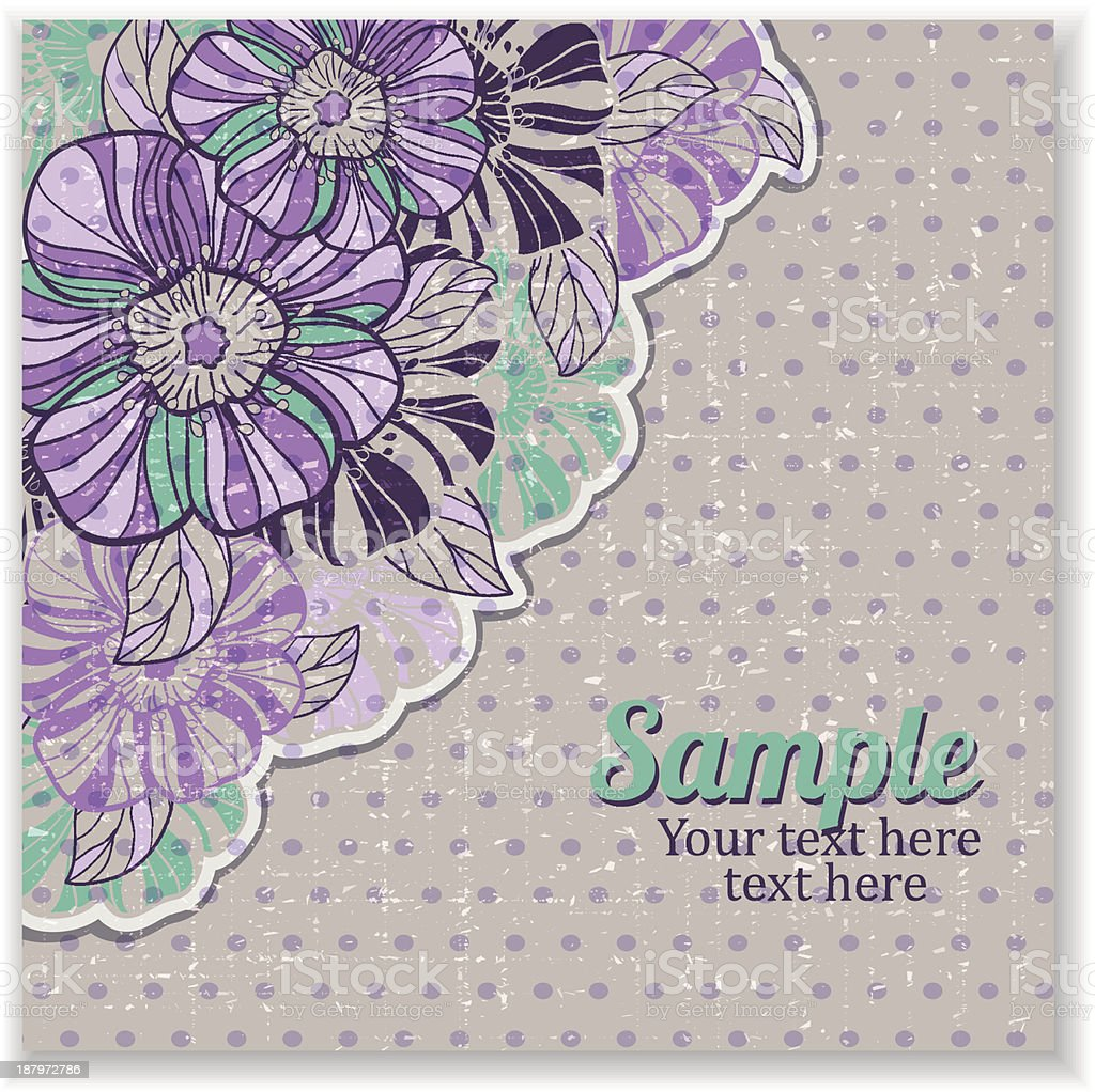 flower card and grungy background royalty-free stock vector art
