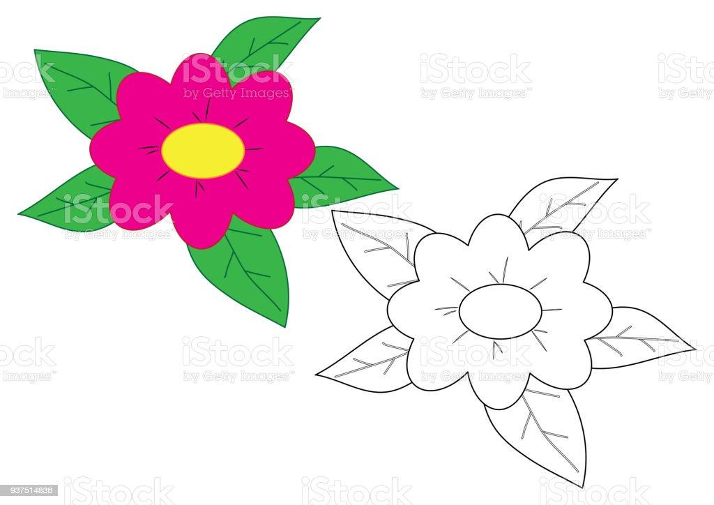 Ilustración de Dibujos Animados De Flores Página Para Colorear Juego ...
