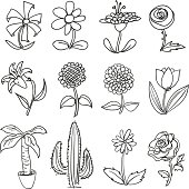 Flower collection in black and white