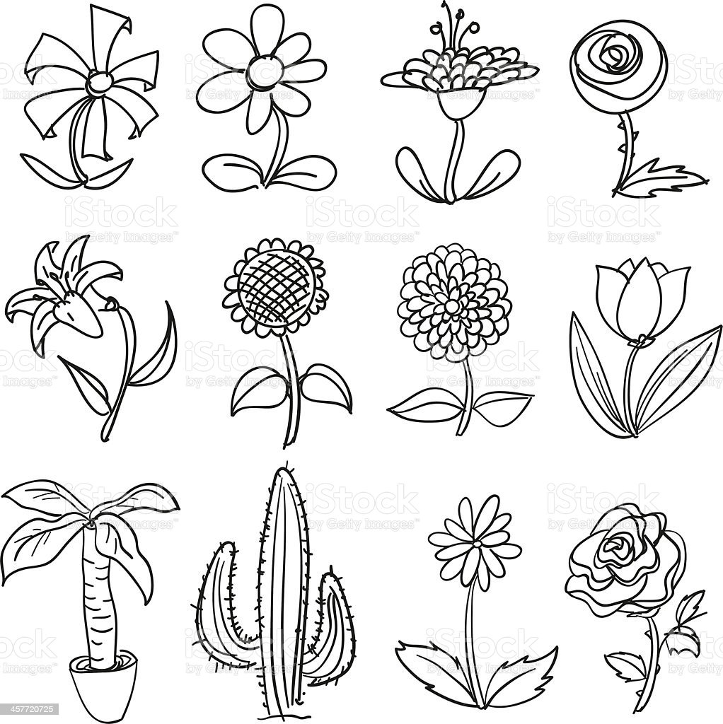 Flower collection in black and white vector art illustration
