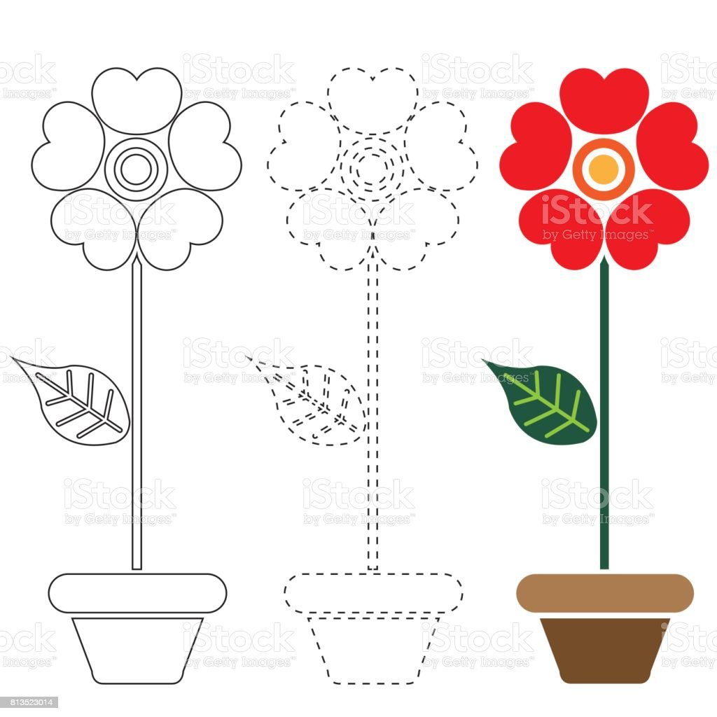 çiçek Boyama Ve Kontur Vektör Stok Vektör Sanatı Alman Papatyası